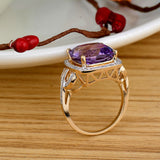 Purple Amethyst Diamond Ring