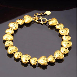 24k Gold Carved Heart Bracelet