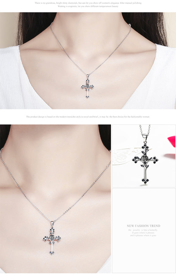 Sterling Silver Rose and Cross Pendant Necklace