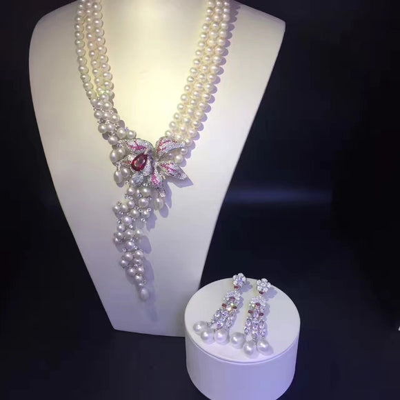 Silver Freshwater Pearls Jewelry Set