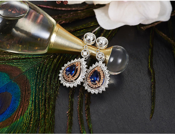 18k White Gold Exquisite Sapphire Earrings