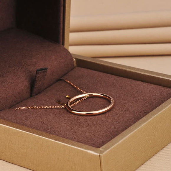 18K Gold Simple Circle Pendant Necklace