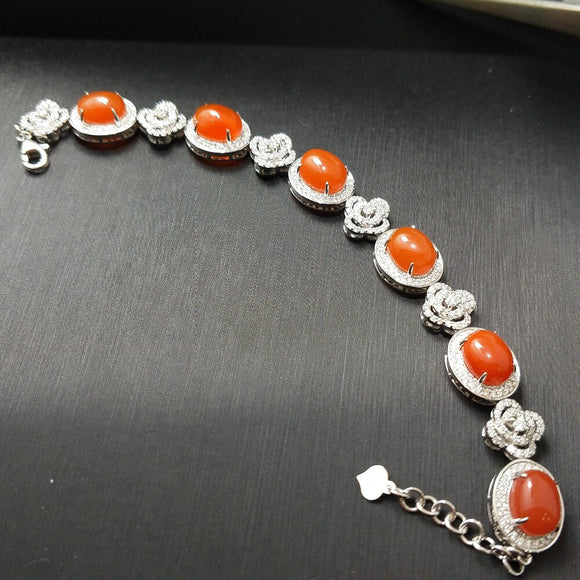 18K White Gold Diamond Coral Bracelet