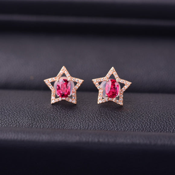 18K Gold Mosaic Star Diamond Earrings