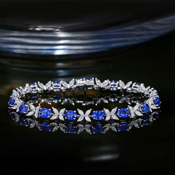 Sapphire and Marquise Diamond White Gold Bracelet