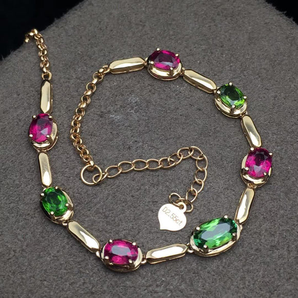 18K Rose Gold Green and Red Tourmaline Bracelet