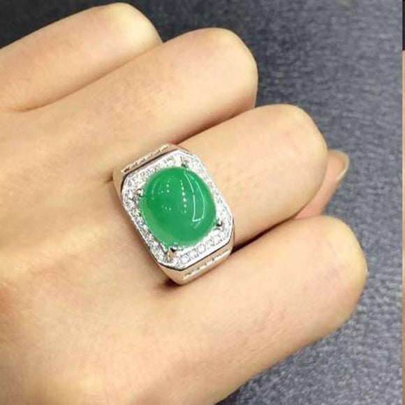 2017 Colombia Green Stone, Solid Silver Mens Ring