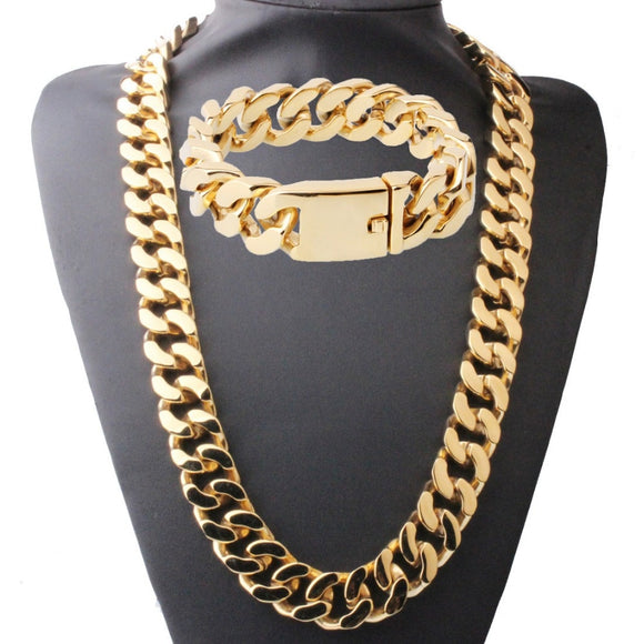 Gold Link Chain Necklace and Bracelet Jewelry Set