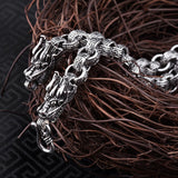 925 Sterling Silver Double Dragon Head Men's Necklace