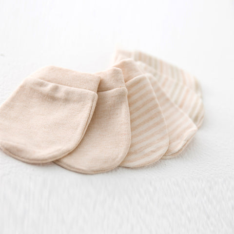 Newborn Infant/baby Anti-scratch Organic Mittens Gloves, 3 Pairs/Set