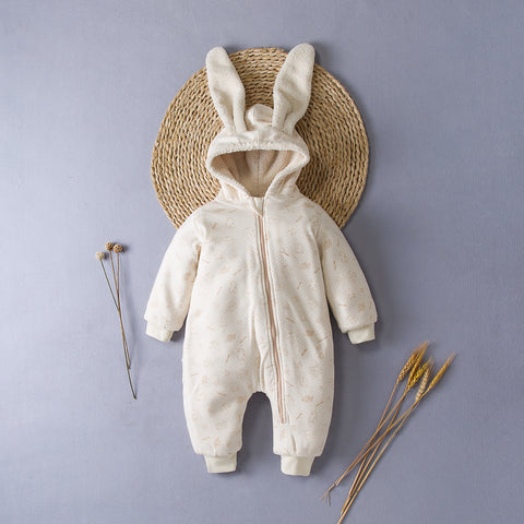 Bunny Ears with Adorable Pattern Baby SnowSuit