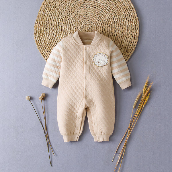 Embroidered Lion Romper Suit With Buttons