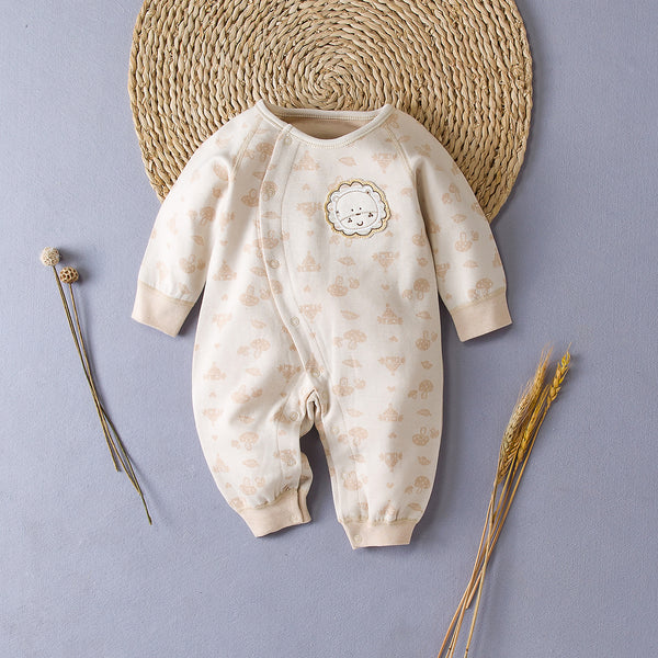 Embroidered Lion Romper Suit With Pattern