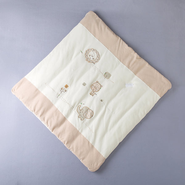 Animal Embroidered Organic Cotton Swaddle Blanket