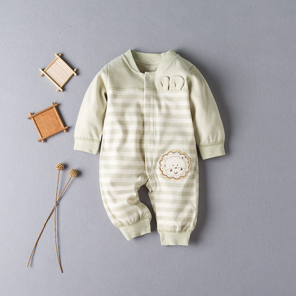 Embroidered Lion Green Striped Romper
