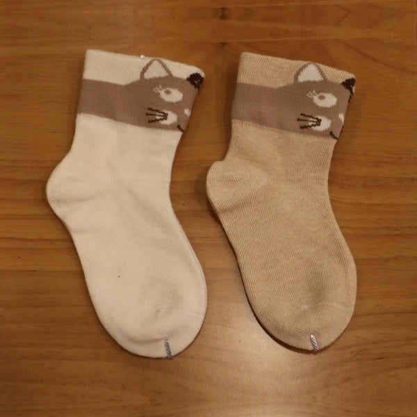 Best Baby Socks with Cat Design, 100% Organic Cotton, 2 Pairs/Set