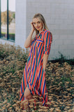 Rainbow Stripe Maxi Scarf Dress