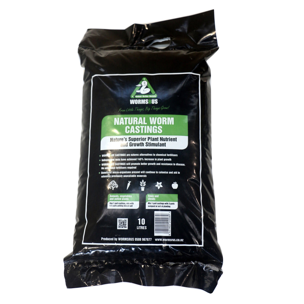 WormsRus Worm Castings 10 litre bag