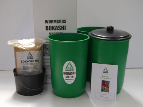 Bokashi feeding bin , black lid and  bokashi mix