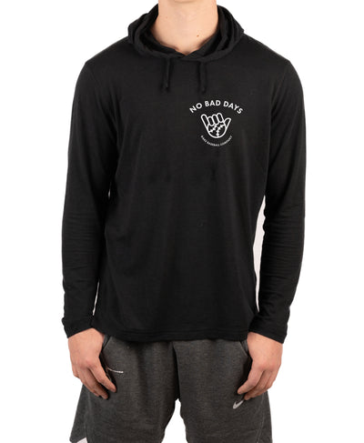 No Bad Days Pocket Performance Long Sleeve Hooded Tee