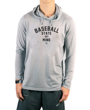 Baseball State Of Mind Performance Long Sleeve Hooded Tee, Rake baseball, good vibes only tee, hooded short sleeve sweatshirt, no bad days shirt, baseball apparel, sports gear, good vibes clothing, baseball apparel, best youth baseball gear,