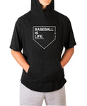 Baseball Is Life Short Sleeve Moisture Wicking Hooded Tee