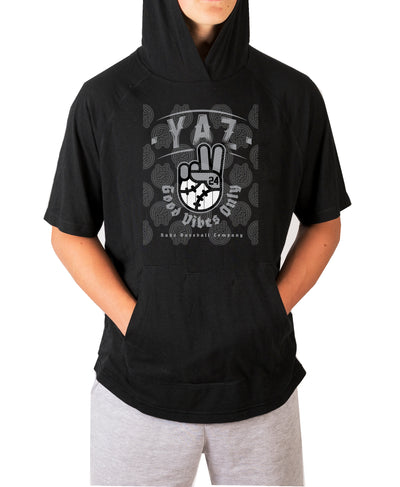 Yaz Good Vibes Only Short Sleeve Moisture Wicking Hooded Tee w Pouch