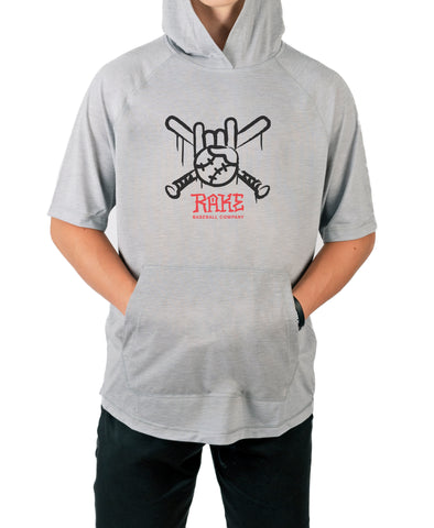 Rake Tagger Short Sleeve  Moisture Wicking Hooded Tee w Pouch