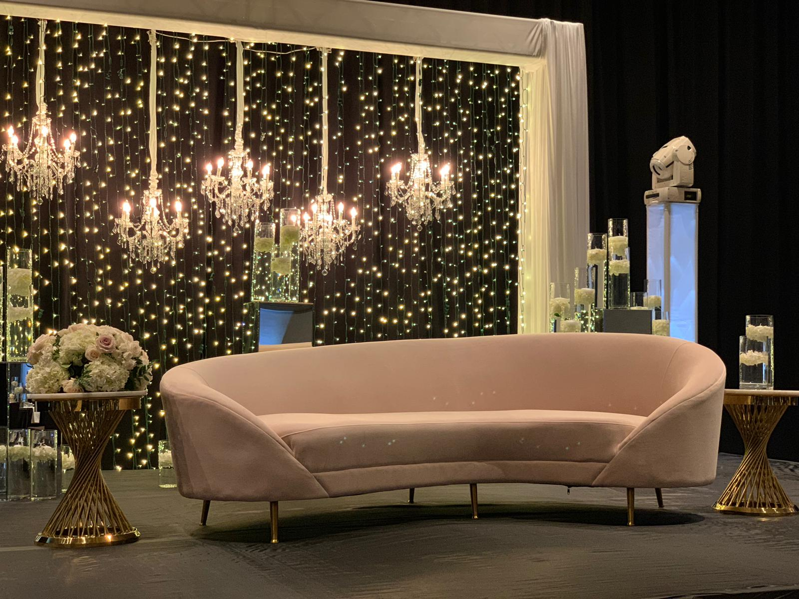 Celine Sofa, Infinity Accent Tables, Chandeliers, String Lights