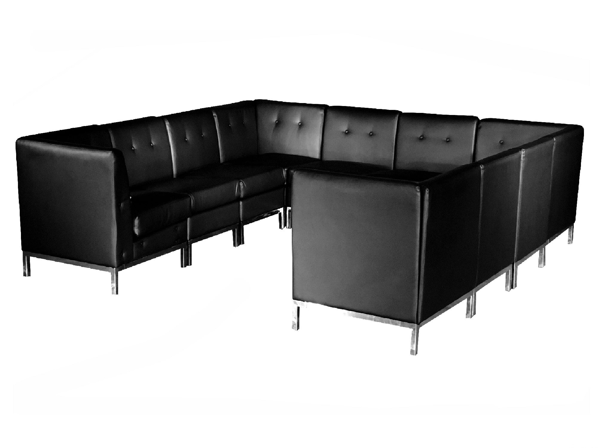 "PEACHTREE 10pc ""U"" SHAPED SECTIONAL - BLACK"