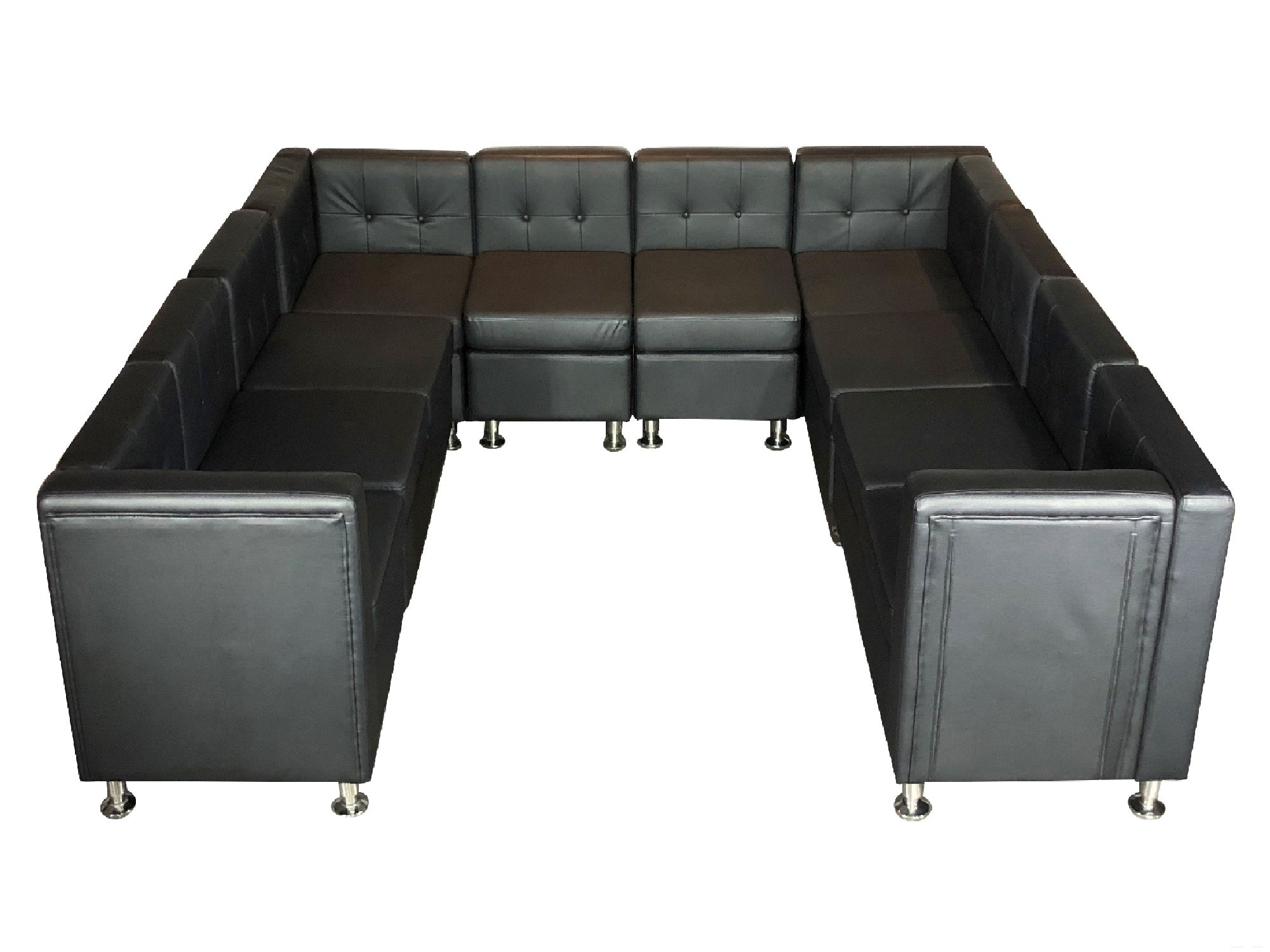 "CLUB 10PC ""U"" SHAPED SECTIONAL - BLACK"