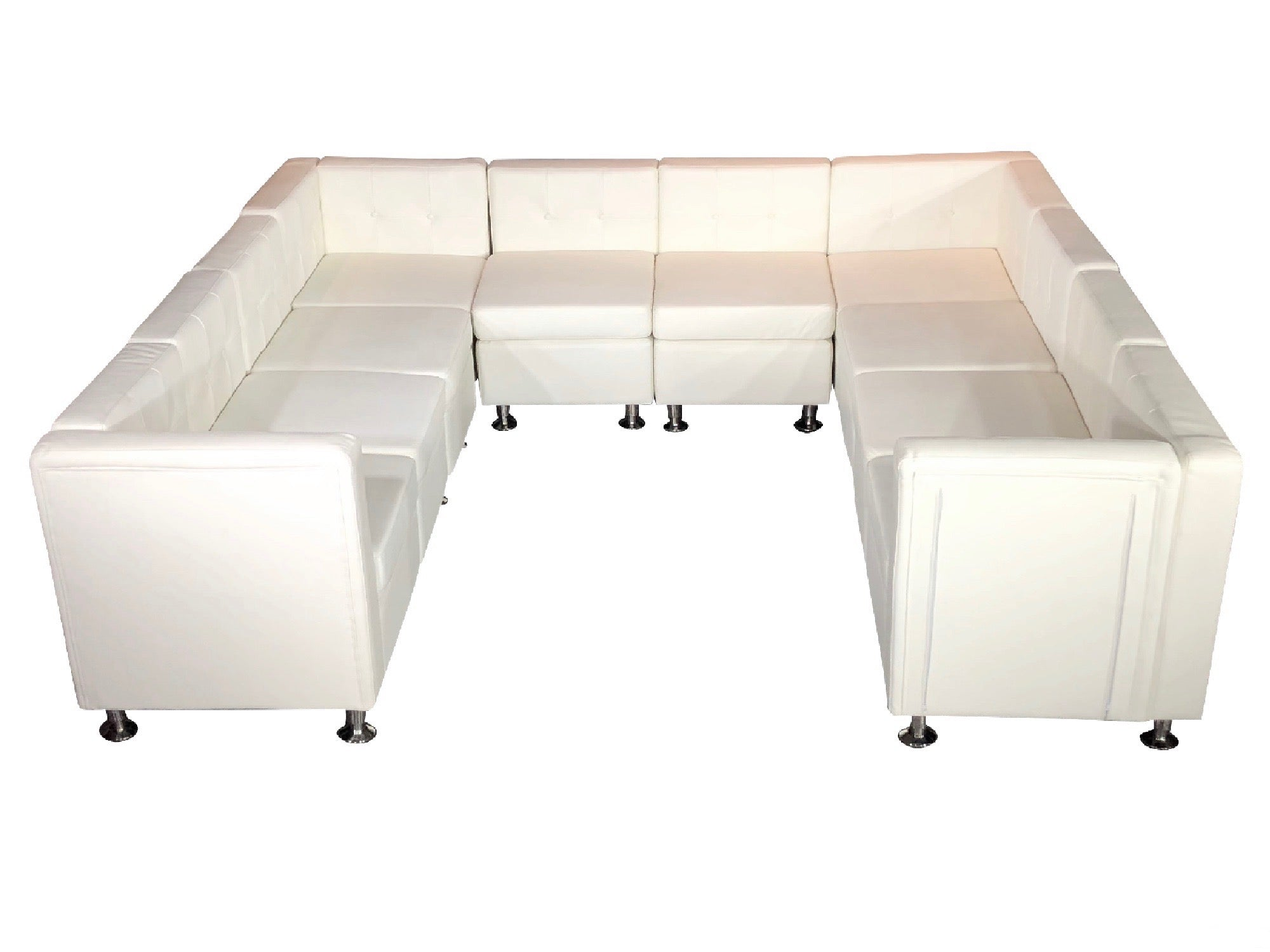 "CLUB 10PC ""U"" SHAPED SECTIONAL - WHITE"