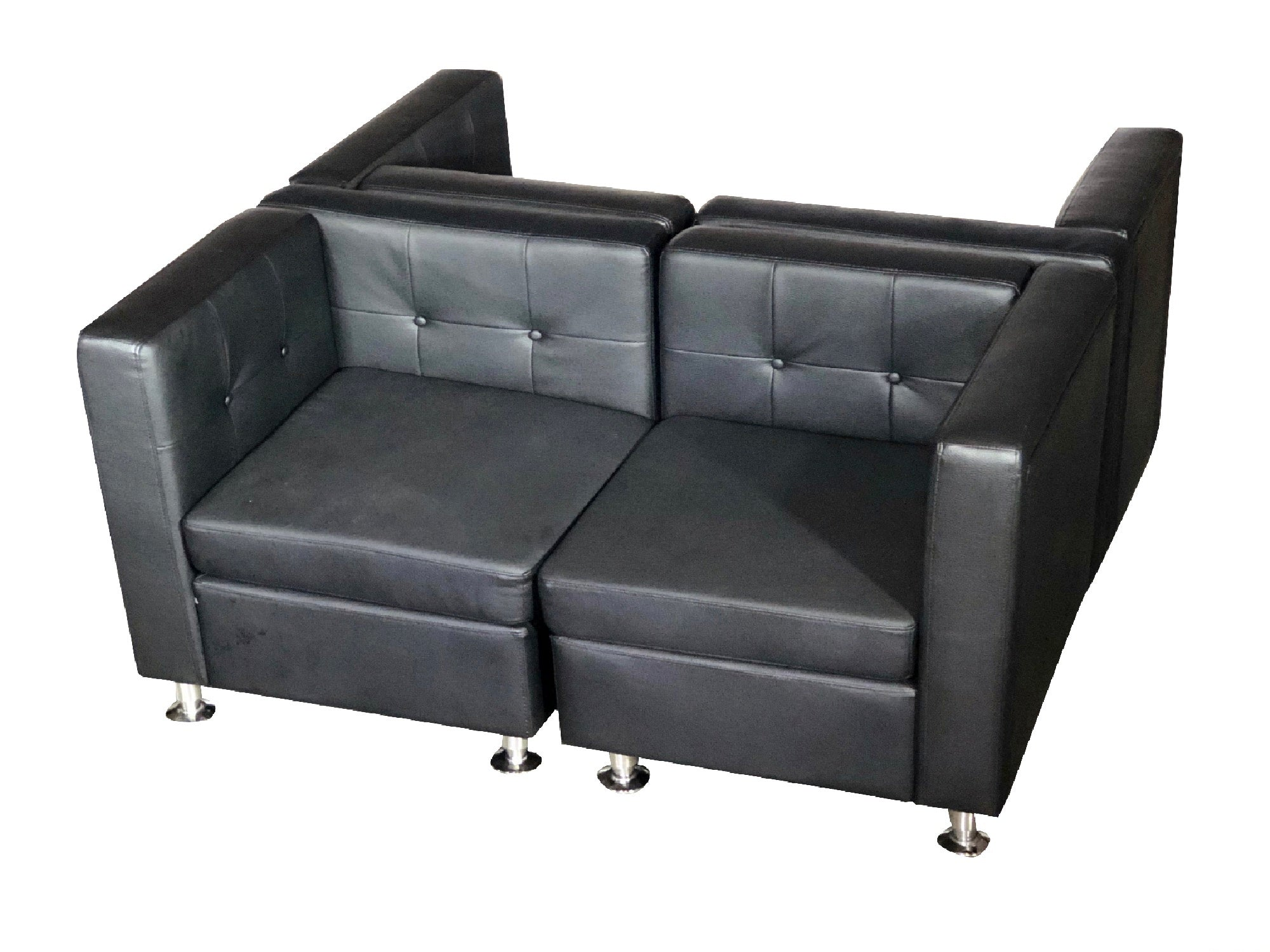 "CLUB 4PC ""H"" SHAPED SECTIONAL - BLACK"