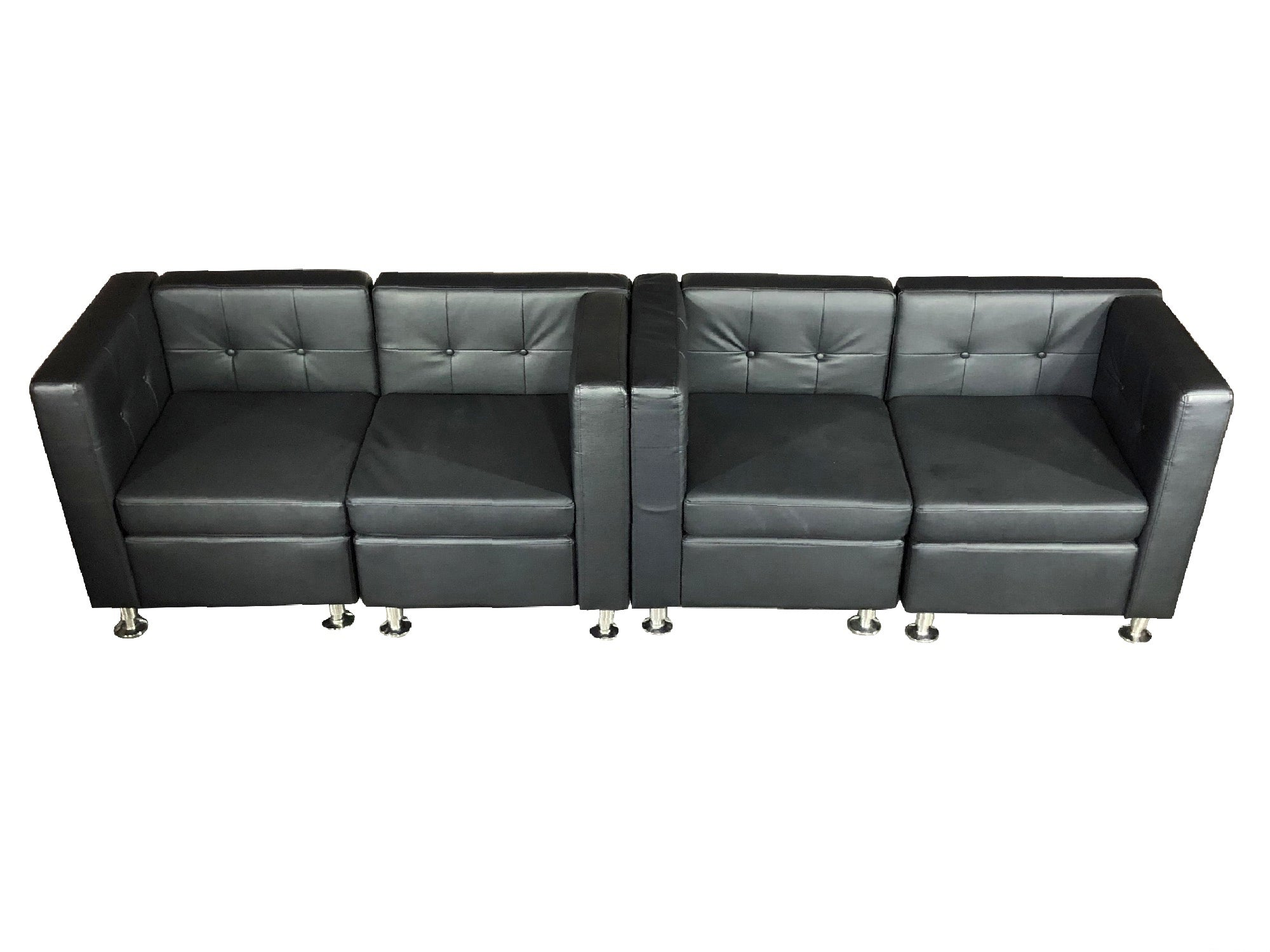 CLUB 4PC MIDDLE ARM SOFA - BLACK