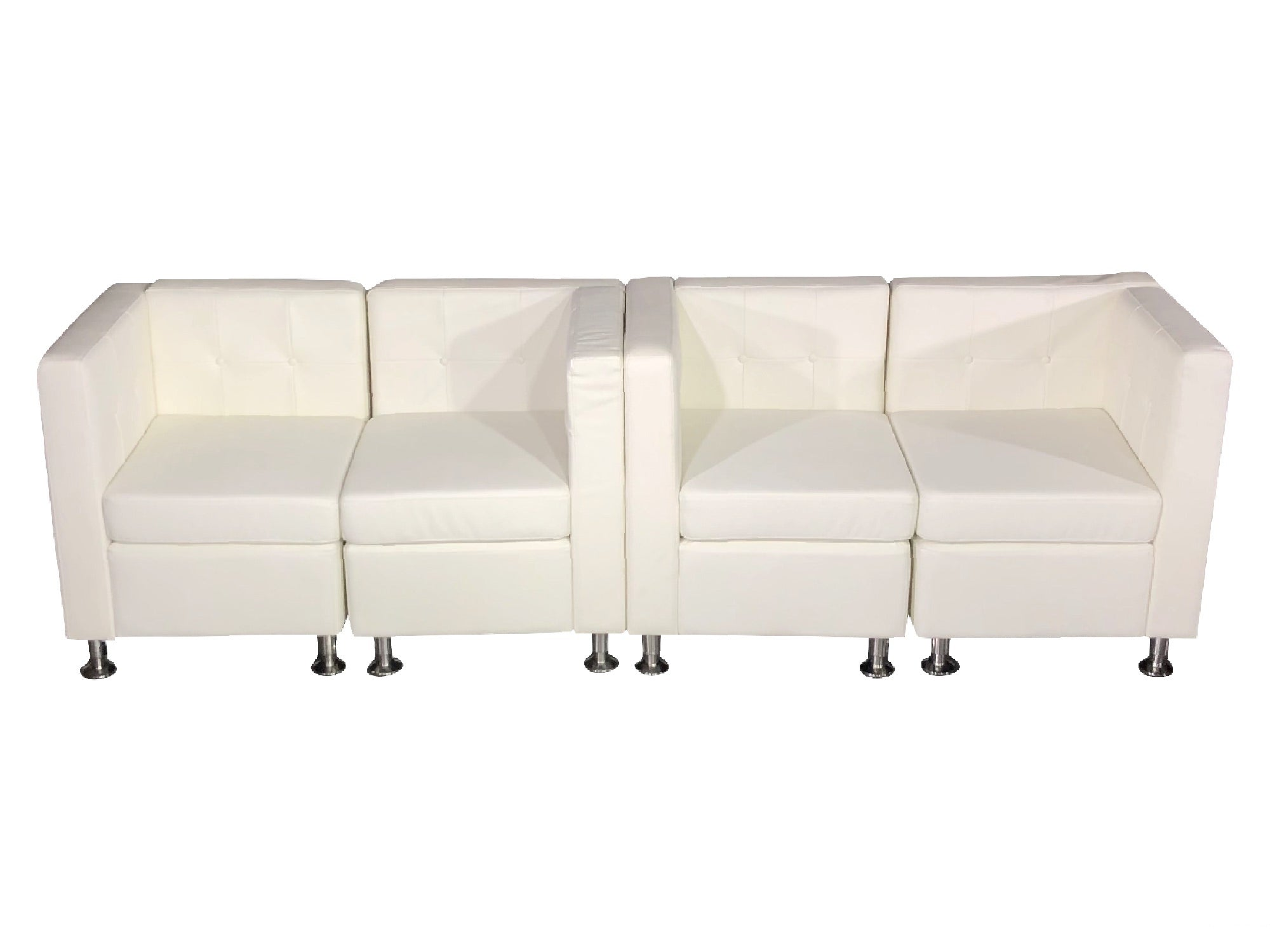 CLUB 4PC MIDDLE ARM SOFA - WHITE