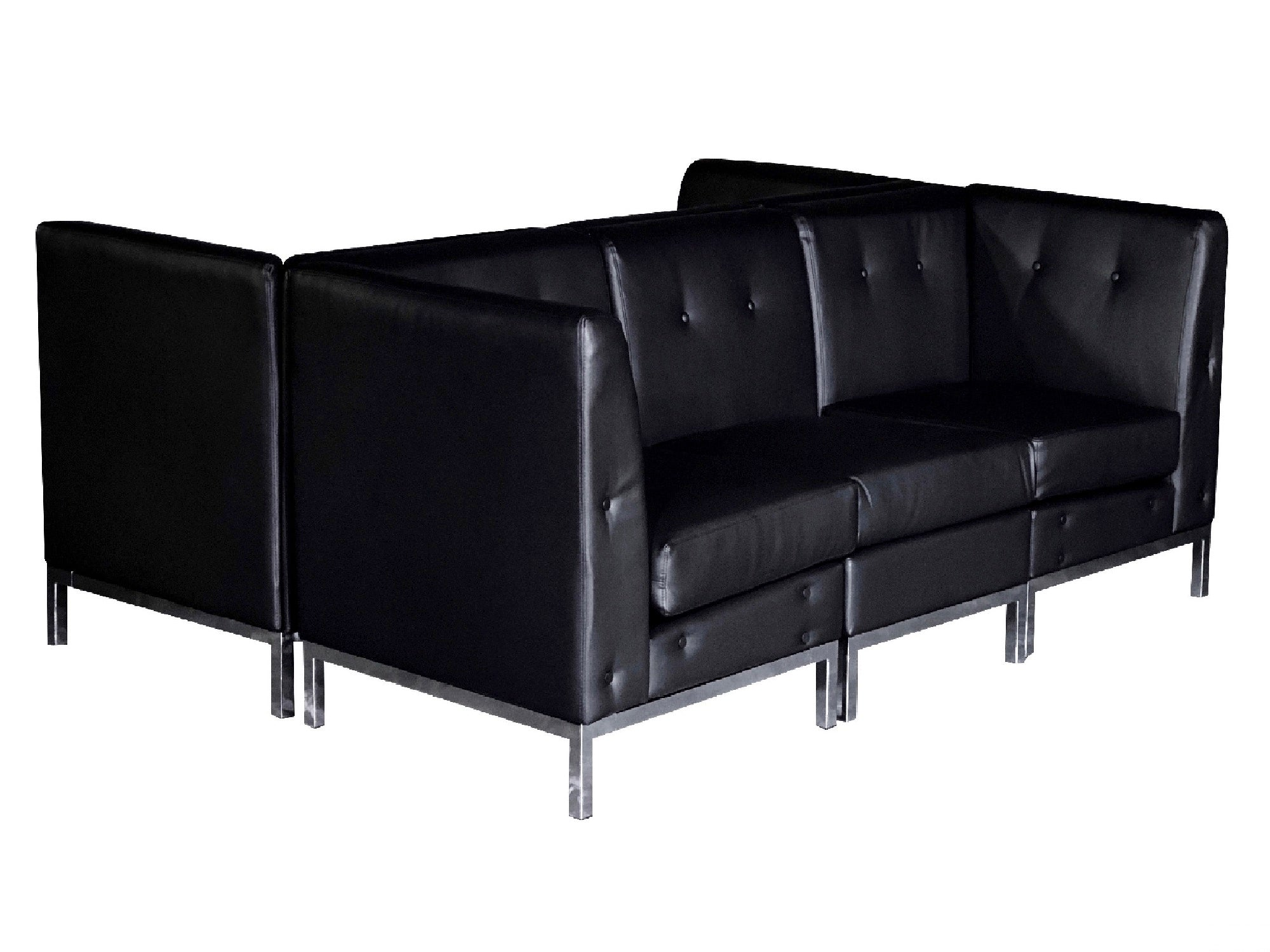 "PEACHTREE 6PC ""H"" SHAPED SECTIONAL - BLACK"