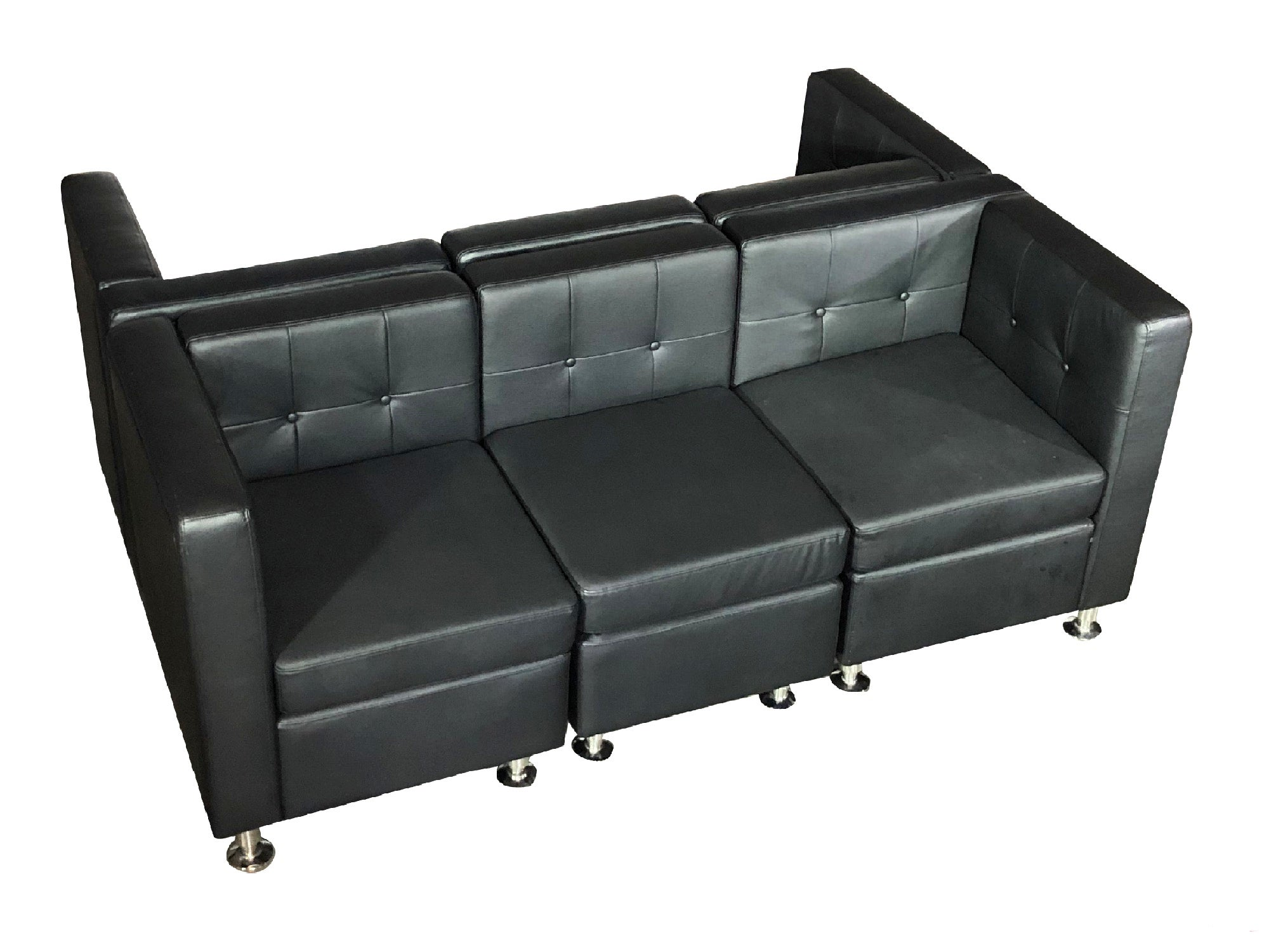 "CLUB 6PC ""H"" SHAPED SECTIONAL - BLACK"