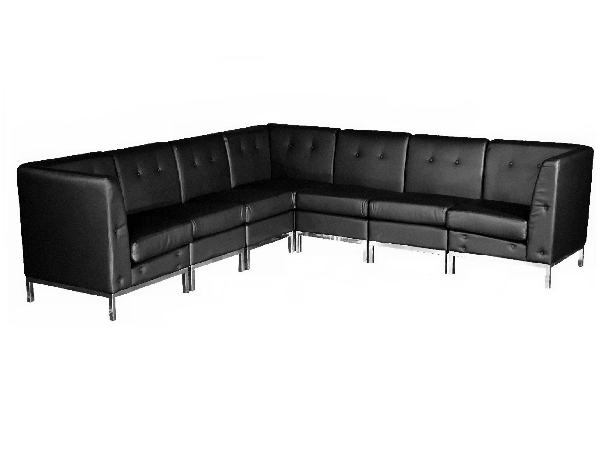 "PEACHTREE 7PC ""L"" SHAPED SECTIONAL - BLACK"