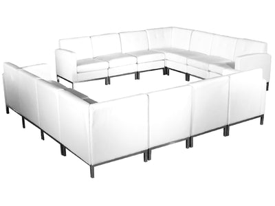 "PEACHTREE 7PC ""L"" SHAPED SECTIONAL - WHITE"
