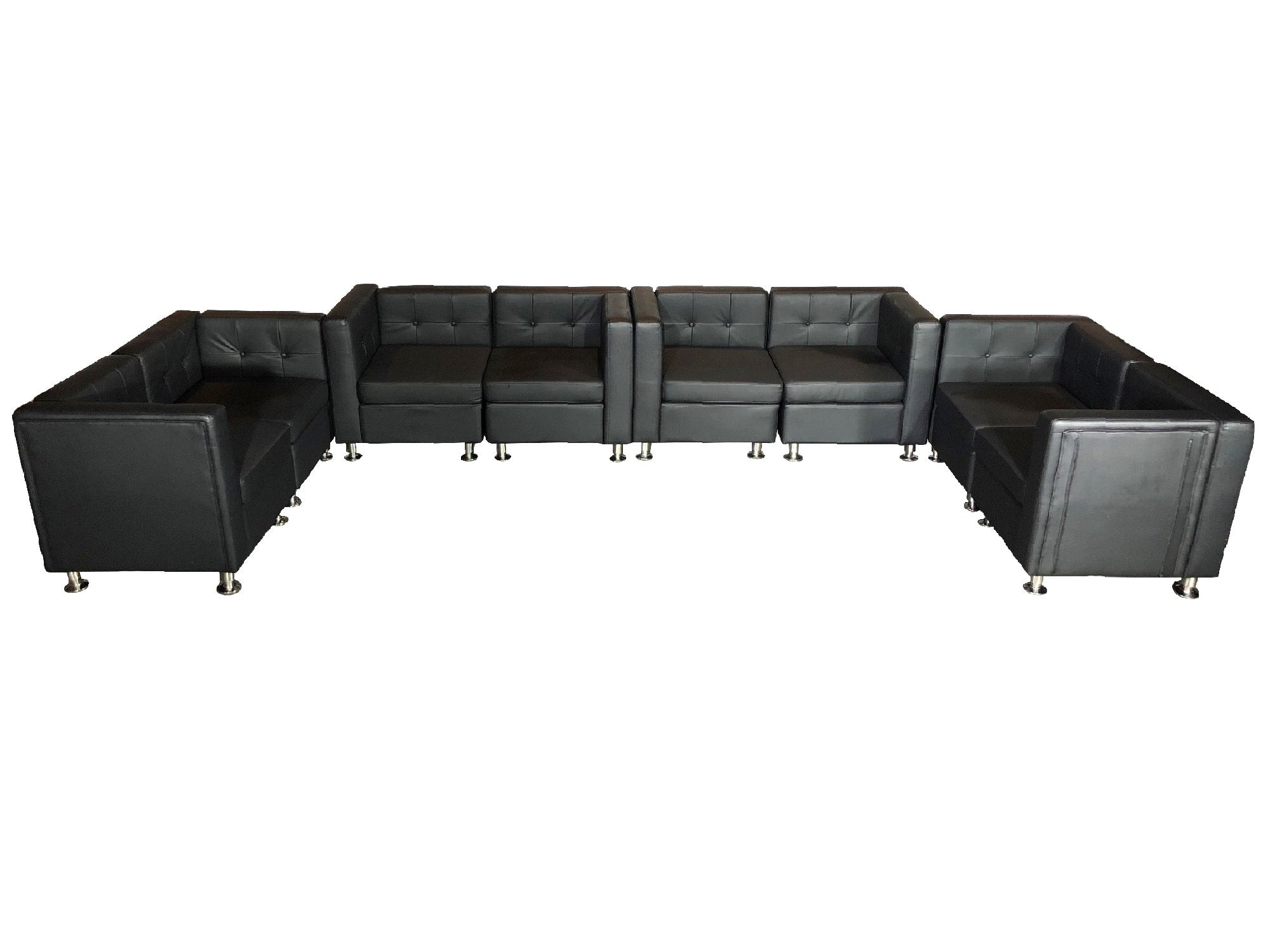 "CLUB 8PC ""U"" SHAPED SECTIONAL - BLACK"