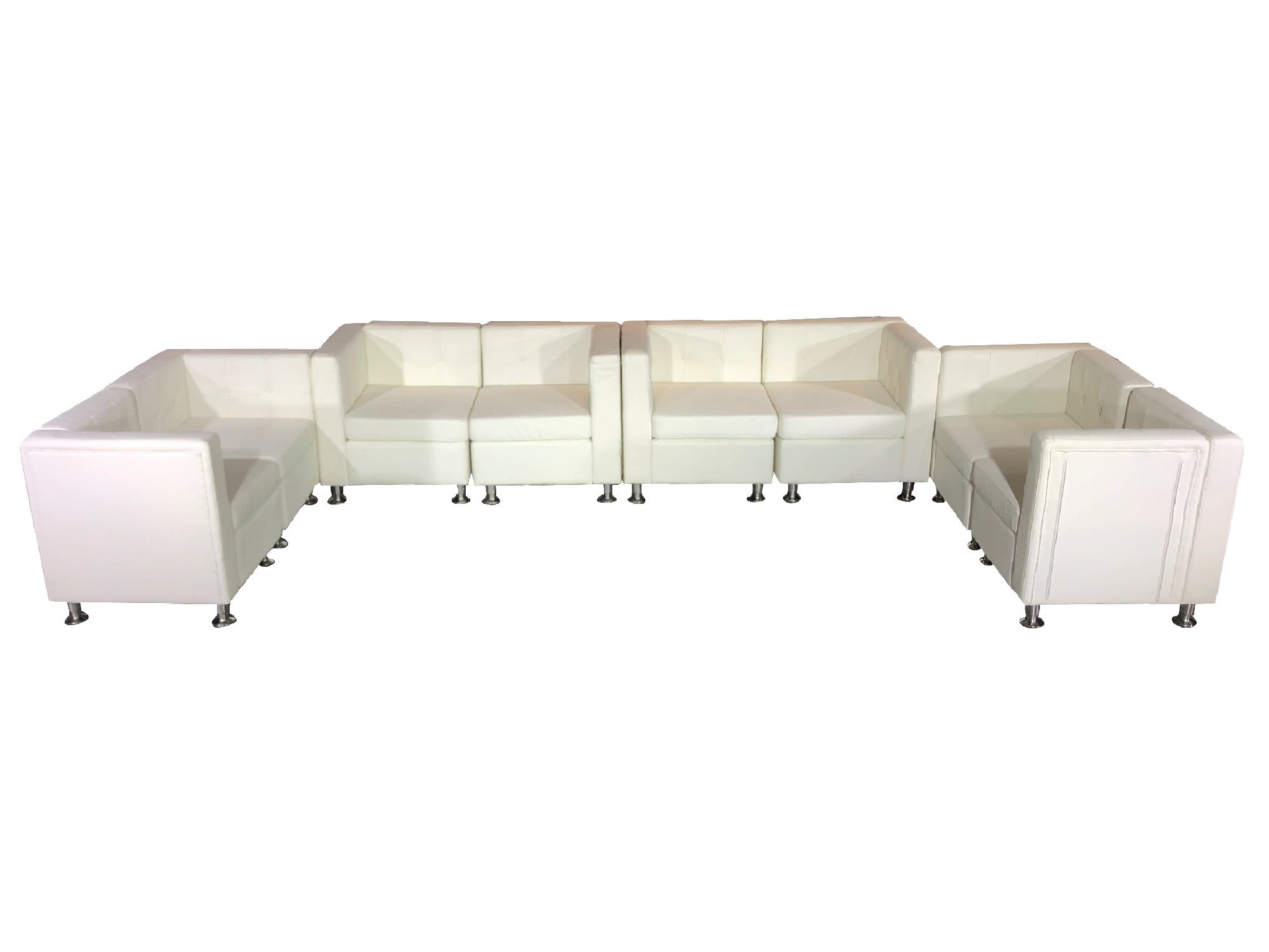 "CLUB 8PC ""U"" SHAPED SECTIONAL - WHITE"
