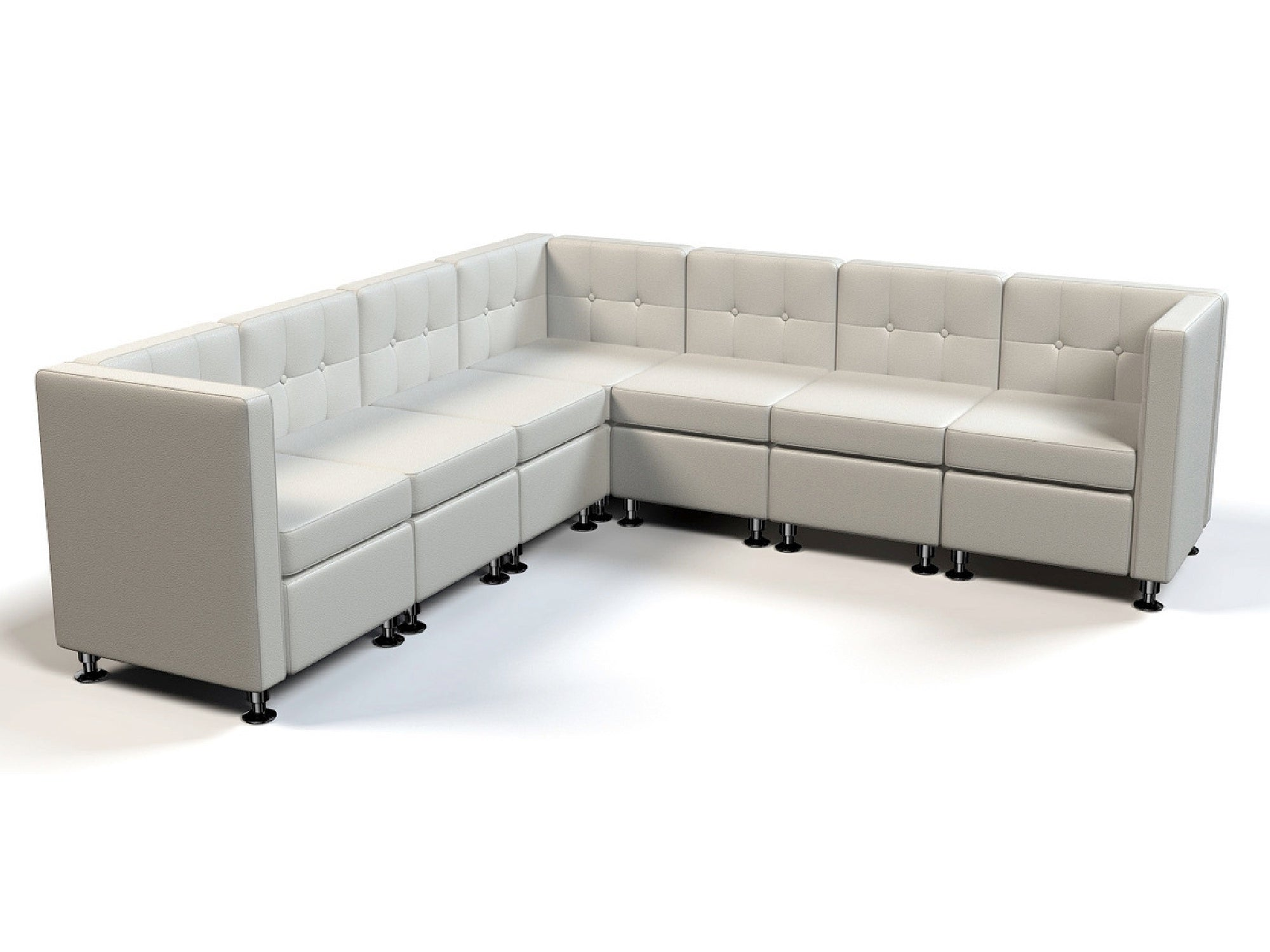 "CLUB 7PC ""L"" SHAPED SECTIONAL - WHITE"