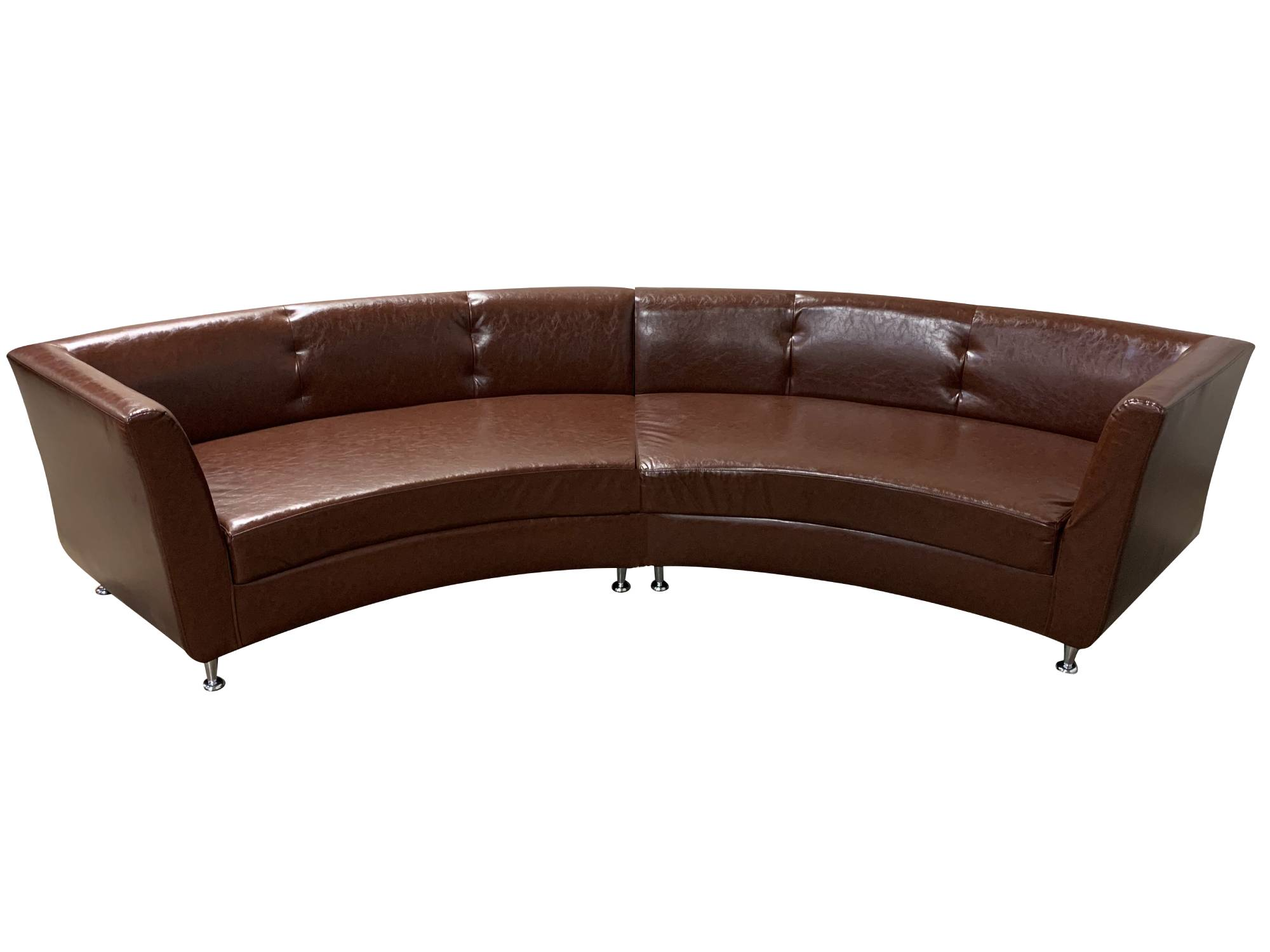 LUXURY 2PC CURVED SOFA - BROWN