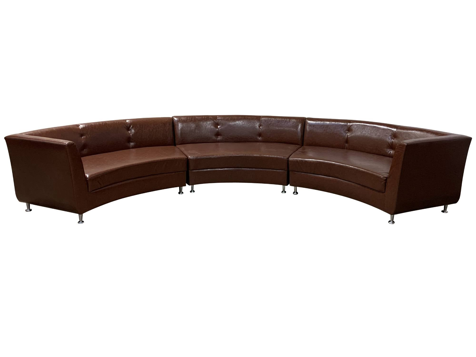 LUXURY 3PC CURVED SOFA - BROWN