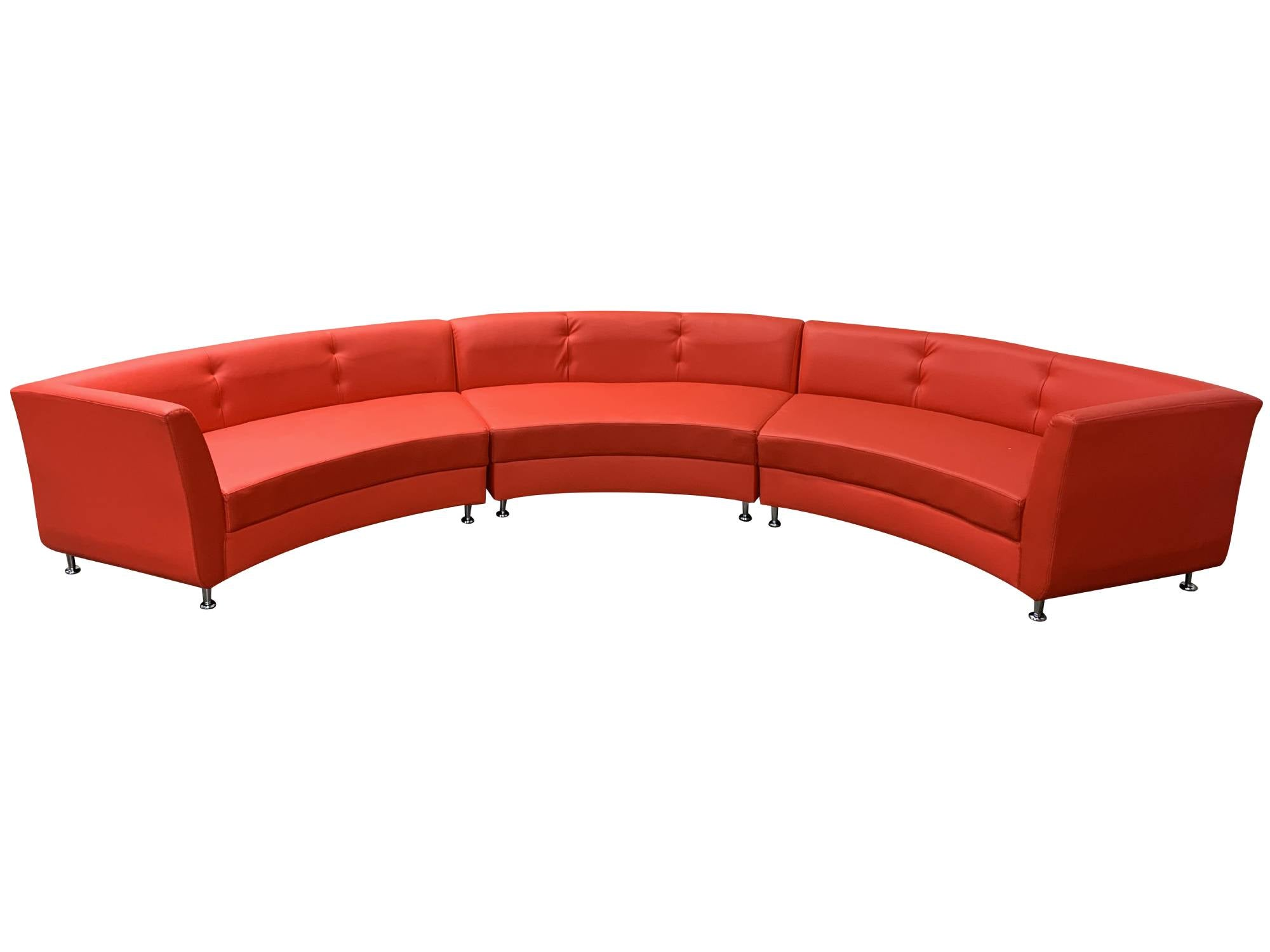LUXURY 3PC CURVED SOFA - RED