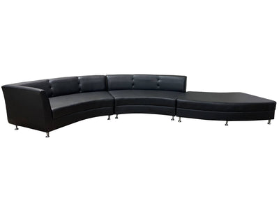 LUXURY 3PC SERPENTINE SOFA - BLACK