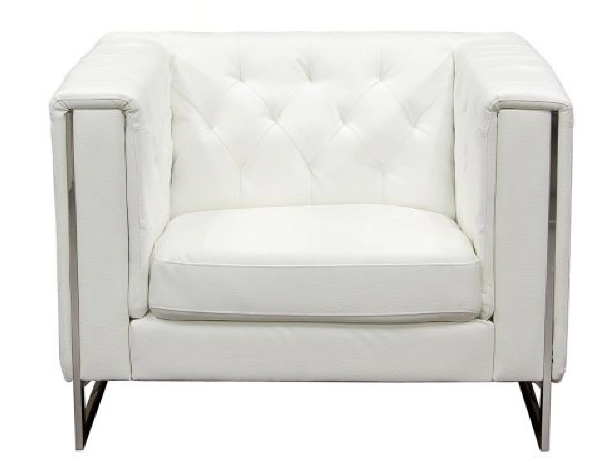 METRO CHROME ARMCHAIR - WHITE