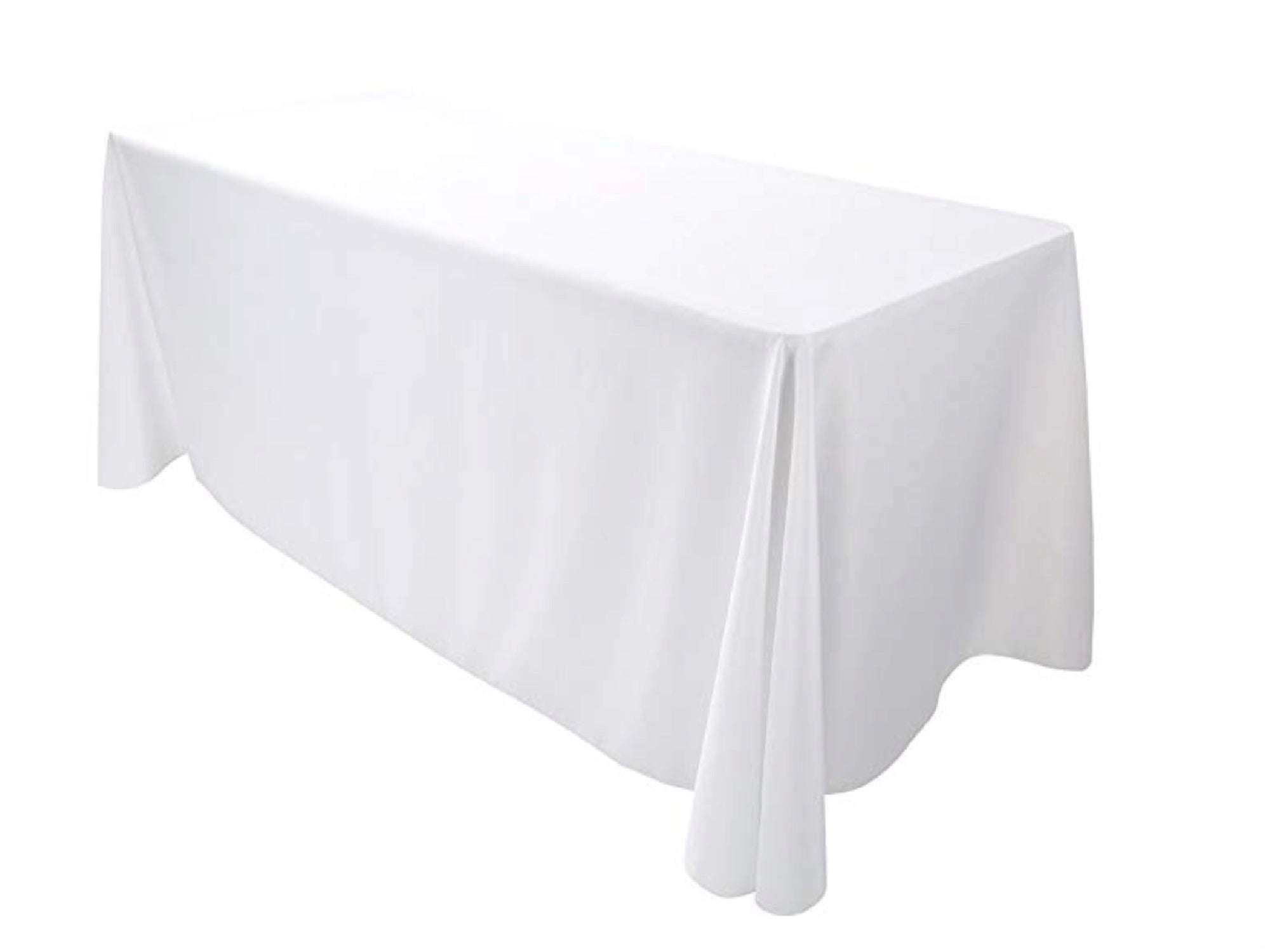 "RECTANGULAR POLY LINEN | 90"" x 132"" - WHITE"