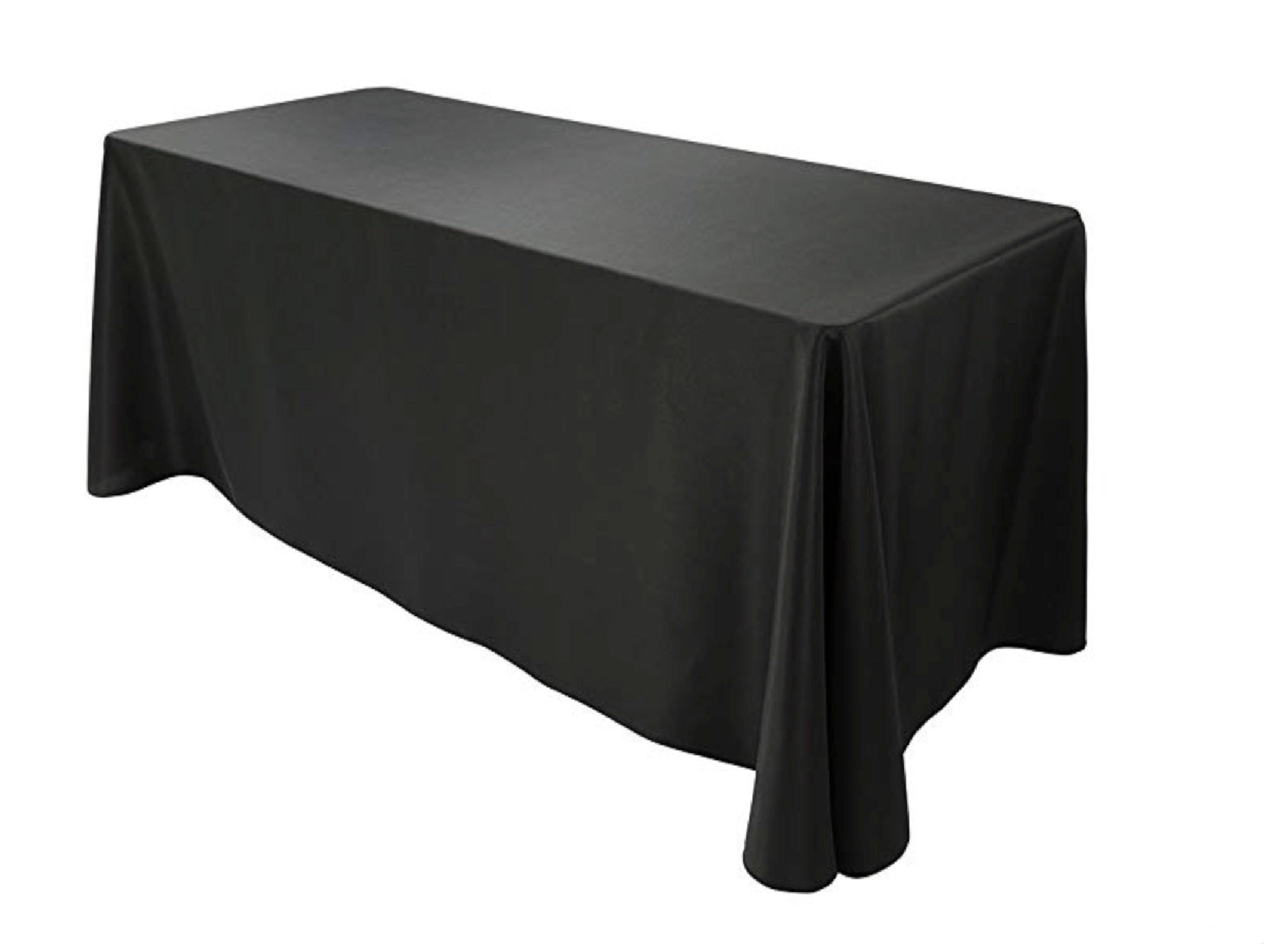 "RECTANGULAR POLY LINEN | 90"" x 132"" - BLACK"