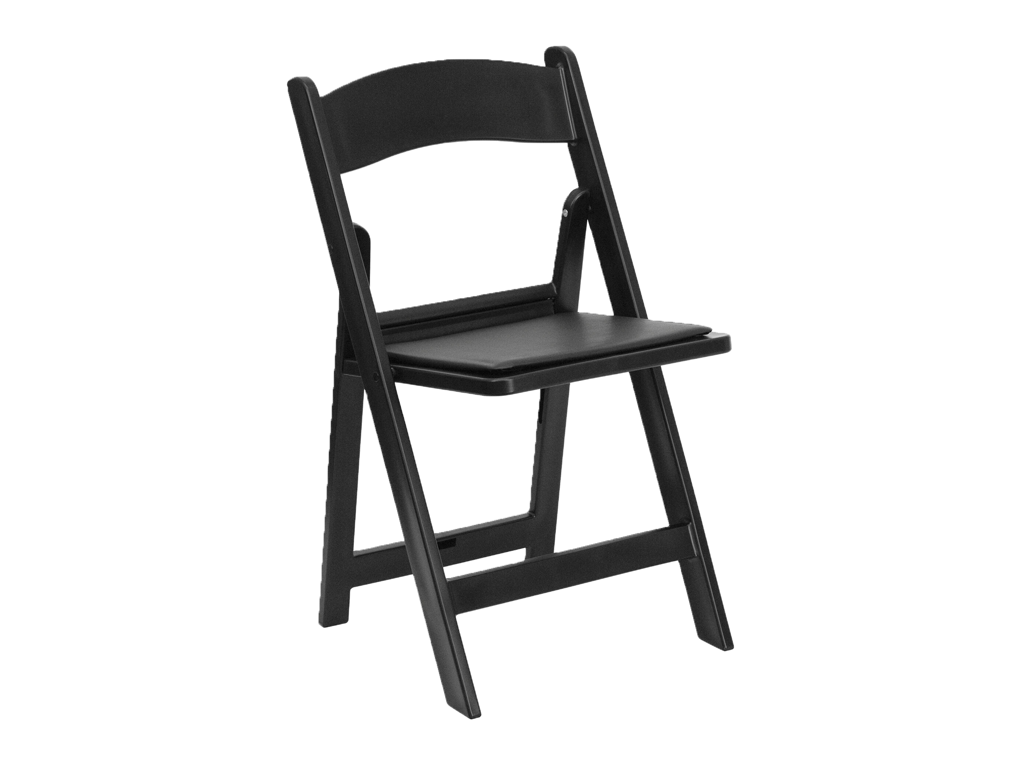 RESIN PADDED FOLDING CHAIR - BLACK